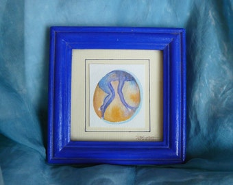 Small painting-watercolor soul dancing frame blue great gift idea