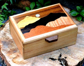 Handcrafted wood inlay mountain moonlight box