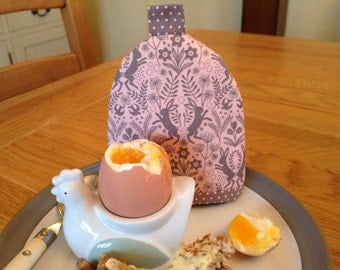 Egg cosy with hare print fabric
