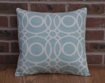 "Aqua Green Geometric Circles Decorative Home Decor Pillow Cushion Cover 16"""