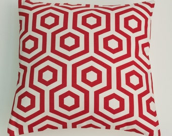 "Bold Red Hexagon Shapes 16"" / 40cm Geometric  Cushion Cover"
