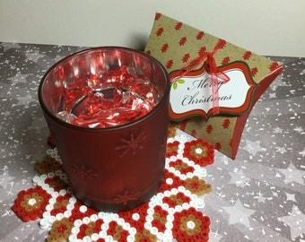 Christmas ornament, Christmas Mandala ,Hama Beads, home deco, pixel art, perler beads, coaster, table top deco, perler coaster,  beads