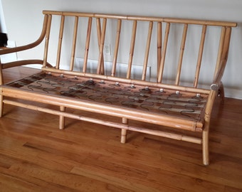 Mid Century Superior Reed and Rattan Sofa