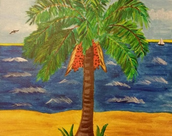 Palm Tree on a Beach Painting