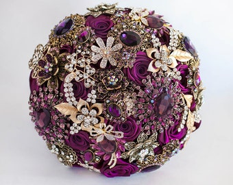 Brooch Bouquet Purple Wedding Bridal Broach bouquet Jeweled Bouquet DEPOSIT