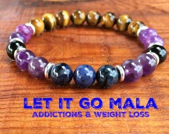 Let It Go Bracelet, Tiger Eye + Lepidolite + Black Tourmaline + Amethyst, Weight Loss, Healing Addictions, New Beginnings + Motivation