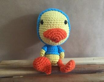 Ava and Arthur- Handmade Duck in a hoodie Amigurumi crochet soft toy.