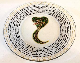 Snake Art, Snake Plate, Snake Dinnerware, Cobra Plate, Cobra Art, Sugar Skull Animals, Snake Sugar Skull, Snake Home Decor, Snake Gifts