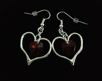 No.711 Red and Silver Open Heart Earrings