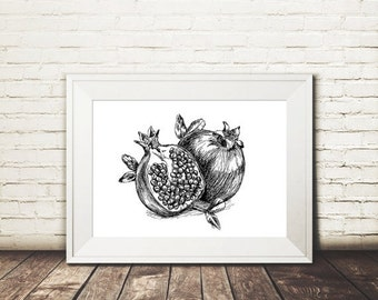 Christmas In July Sale Pomegtanate print, Black and white printable, Pomegranate poster, Botanical art print, Kitchen decor