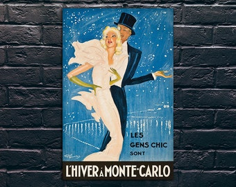 Monte Carlo Travel Poster, Travel Print, Tourism Wall Art, L'Hiver a Monte Carlo Vintage Travel Poster Print, Sticker and Canvas Print