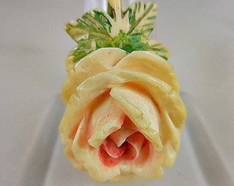 Vintage Celluloid 1930's Rose Flower Deeply Carved Pendant