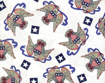 Patriotic Eagles 100% cotton fabric. Sold by the yard