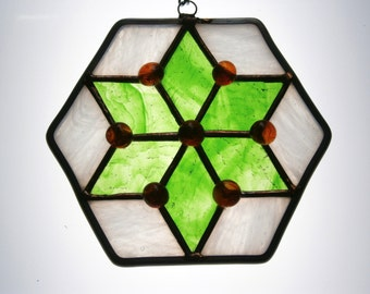 Star stained glass suncatcher green and white with orange globes