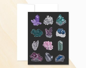 Mineral Study Greeting Card, Crystals and Gemstones, Natural Gemstones, Mineral Chart, Minerals and Rocks, Mineral Rocks, Identifying rocks