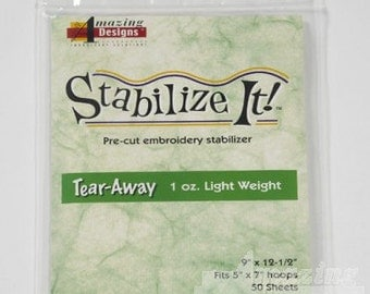 """Large package of tear-away stabilizer contains 50 sheets, size 9"""" x 12-1/2"""" to fit 5"""" x 7"""" hoops"""