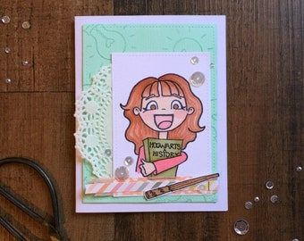 """Hand Stamped """"Hermione Granger"""" Greeting Card"""
