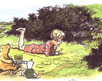 1986 winnie the pooh print christopher robin picnic by e h shepard