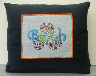 Embroidered cushion inspired embroidery Glazig