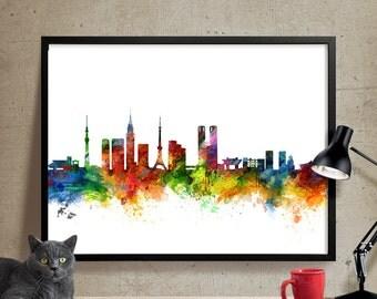 Tokyo Skyline Watercolor Print, Tokyo poster, Tokyo artwork, Tokyo skyline,Japan cityscape, Tokyo wall art , Watercolor Art Print (252)