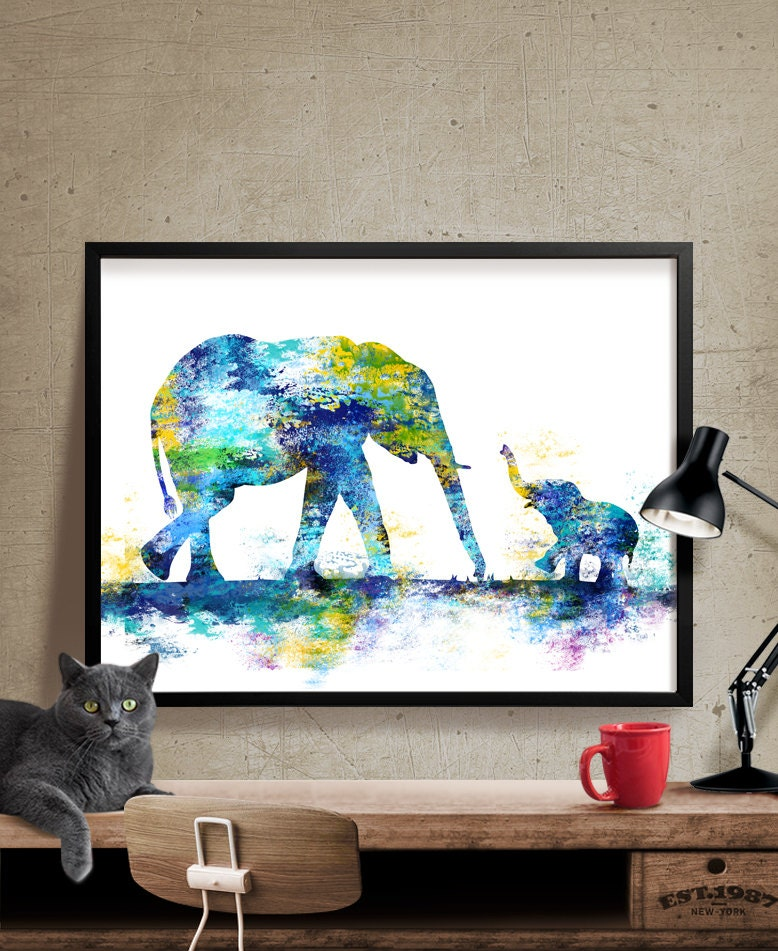 Large Abstract Painting Elephant Art Print Elephant Abstract