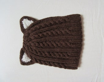 Knit Toddler Hat Wool Brown Bear Toddler Hat - Hand Knit