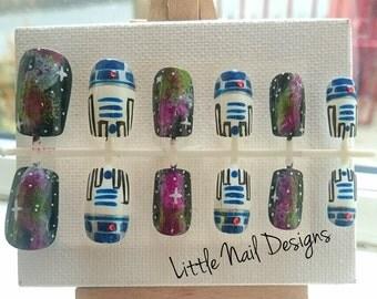 Star wars R2D2 Galaxy space Disney false nails