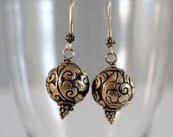 antique cast silver tibetan beads earrings