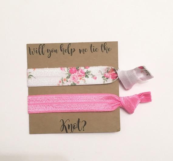 Bridesmaid hair tie favors//white rose & lipstick pink//party favor, hair tie favor, hair tie card, bridesmaid gift, bridesmaid hair ties,