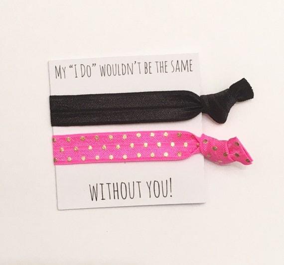 Bridesmaid hair tie favors//hair tie favor, hair tie card, bachelorette favor, bridesmaid gift, party favor, bride, groom, wedding, elastic
