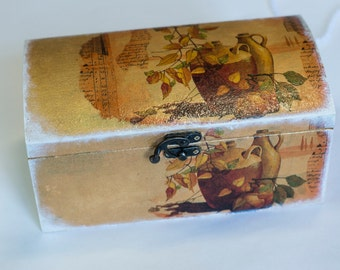Vintage jewelry box. Wooden box. Wedding gifts. Jewelry boxes. Wooden boxes jewelry.Decoupage Wooden Box.
