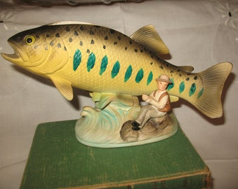 Fish trout planter with fisherman, fine porcelain.