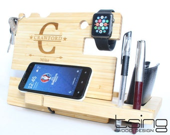 Custom Wooden Dock and Charging Station For iPhone 5, iPhone 6, Mobile, Wallet, Apple Watch, Accessories