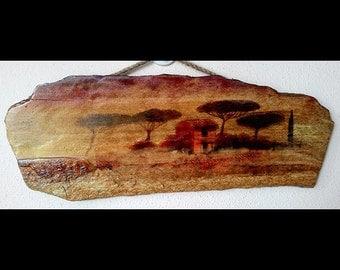 african art painting print on natural kayrak stone landscape print home decor wallart wonderful