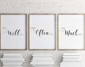 Live Laugh Love Wall Art, Set of 3 prints, Home decor, Bedroom wall art, Minimalist art poster, black and white wall art, Art print BD-622