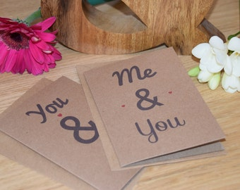 Romantic Cards, Two Pack. 'Me and You' & 'You and I' A6
