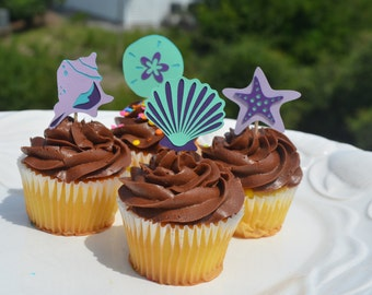 Under the sea food picks, shell cupcake topper, sand dollar cupcake topper,  mermaid party, beach party