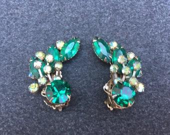 Cathe Emerald Green and AB Green Rhinestone Spray Earrings 0681