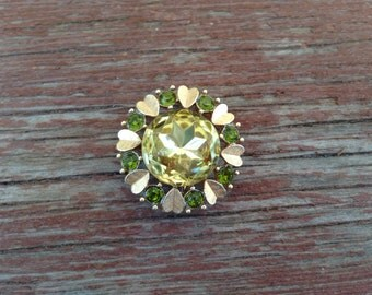 Vintage Avon Jonquil Yellow and Peridot Green Rhinestone with Gold Brooch/Necklace 0430