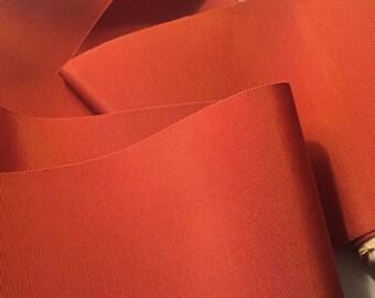 Extra Wide Ribbon, Vintage Orange Ribbon, Vintage Pumpkin Ribbon, Vintage Rayon Ribbon, Wide Grosgrain Ribbon, Wide Petersham Ribbon