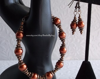 Pearl Jewelry Set, Handmade Pearl Earrings, Burnt Orange Pearl and Copper Bracelet & Earrings Set, Pearl Bracelet, Jewelry Set, (CS-02)