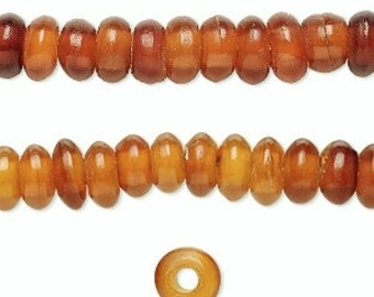 Golden Horn, Horn Rondelle Bead, Rustic, Tribal, 8x4mm, 20 each, D716