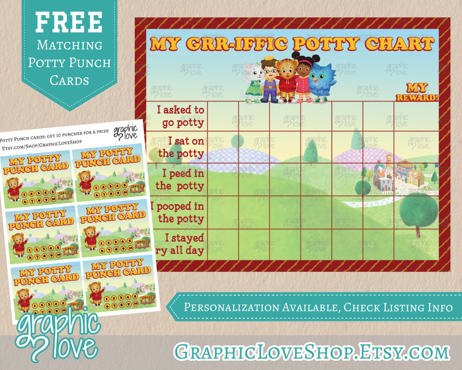 printable daniel tiger grr iffic potty training chart punch printable daniel tiger grr iffic potty training chart punch cards jpg files instant