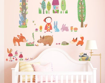 Decowall,DW-1601,Red Riding Hood in Woodland Wall Stickers