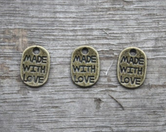 50pcs--Made with love charms, Antique bronze made with love charm Pendants,Tear Drop, Jewelry Making 11x8mm D0617