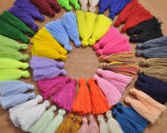 50pcs or 100pcs Mix Color Mini Tassels,3cm Cotton Tassels, DIY Craft Supplies Jewelry tassels Short Boho tassels Small tassels Fringe Trim