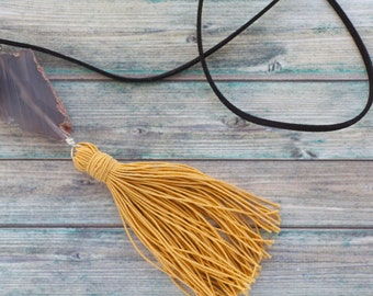Boho chic tassel necklace  / Agate druzy tassel necklace on faux suede cord