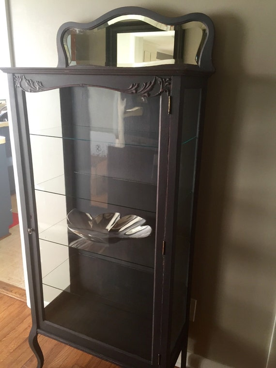 Vintage Glass Curio Display Cabinet Hutch