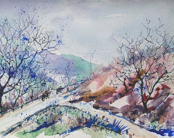 Original watercolor landscape painting Winter Landscape Nature art