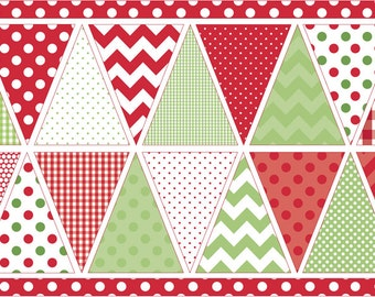 Festive Green Red Christmas DIY Bunting Panel Fabric by Riley Blake Designs per 60cm panel